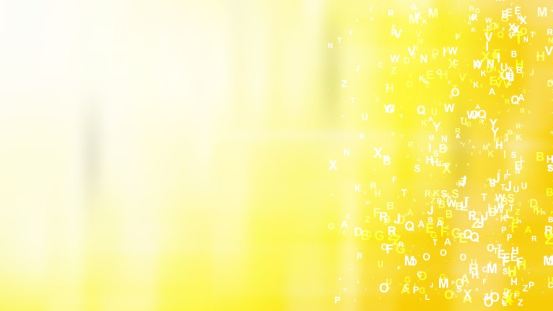 Abstract Yellow and White Scattered Alphabet Background