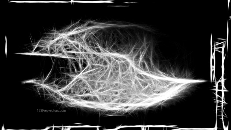 Abstract Black and White Fractal Light Lines Background