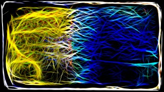 Abstract Blue Yellow and Black Fractal Glowing Chaotic Light Lines Background