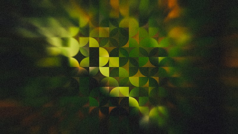 Green Orange and Black Abstract Quarter Circles Background Image