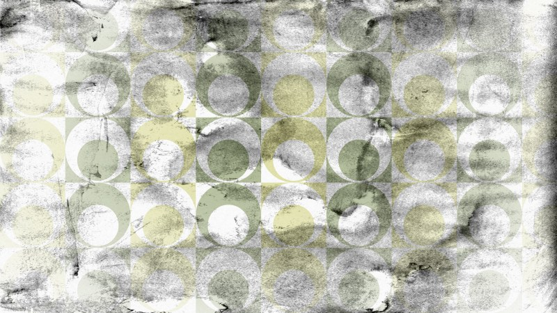 Grey Green and Yellow Grunge Circle Background Pattern