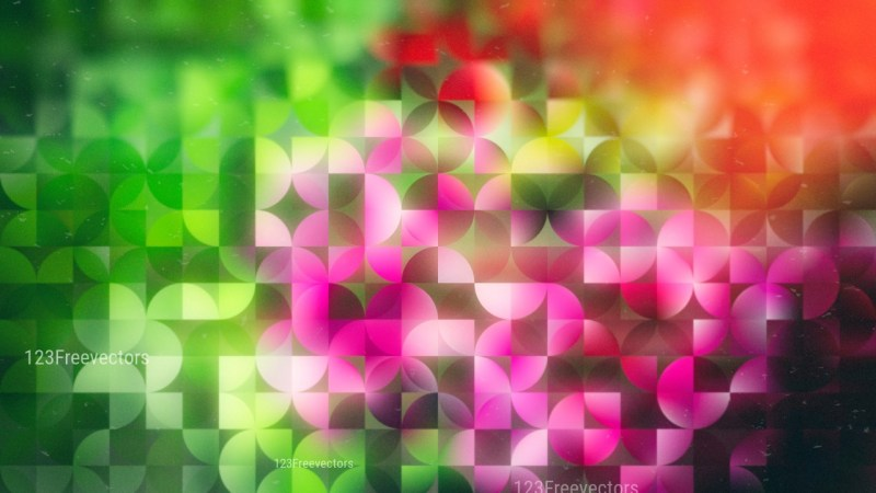 Pink Red and Green Abstract Quarter Circles Background