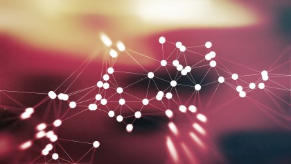 Beige and Red Connected Lines and Dots Blur Background Graphic