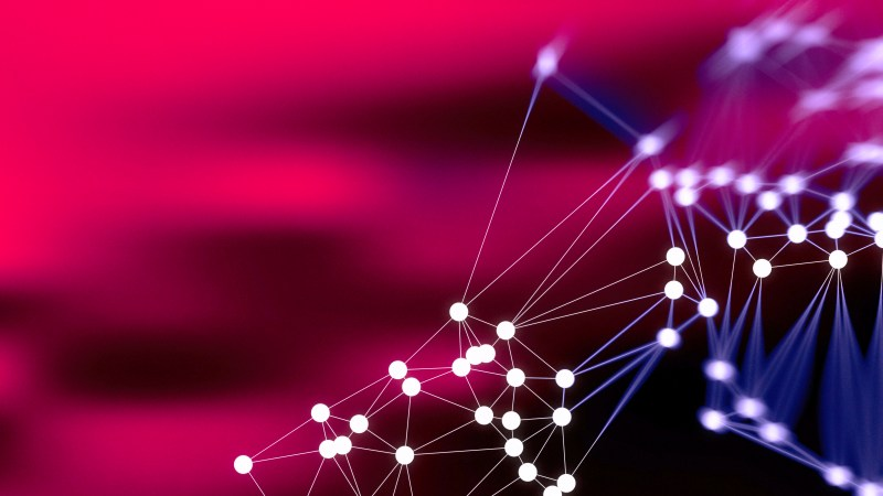 Connecting Dots and Lines Black Pink and Blue Blurred Background Design