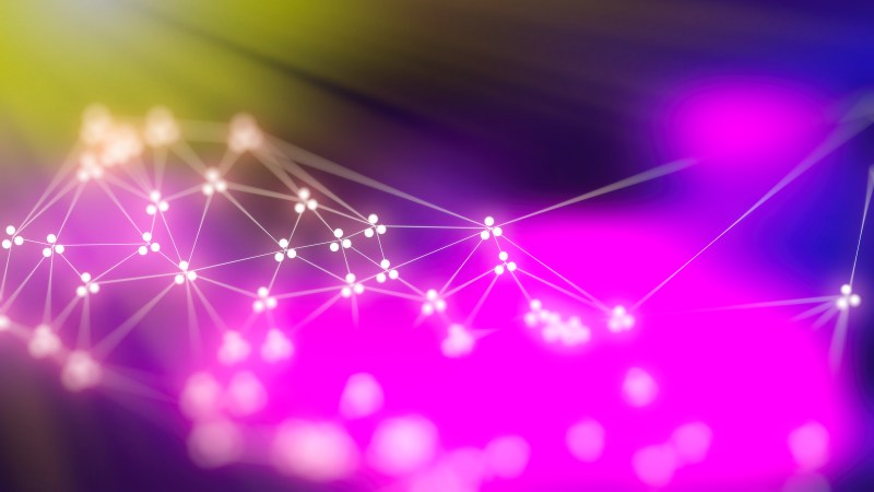 Connecting Dots and Lines Blue Pink and Green Blur Background Design