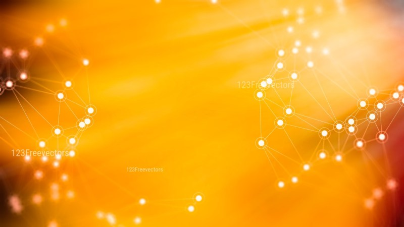 Connecting Dots and Lines Orange Blurred Background Design