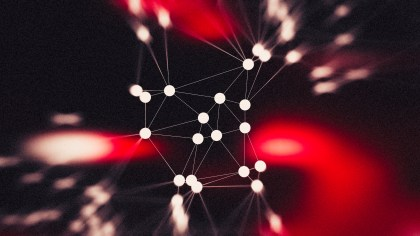 Red and Black Connected Lines and Dots Blur Background Graphic