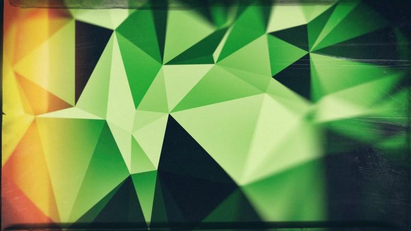 Green Orange and Black Grunge Polygonal Background