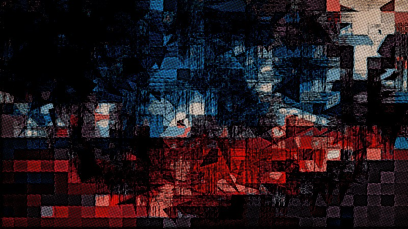 Black Red and Blue Distressed Halftone Dots Texture