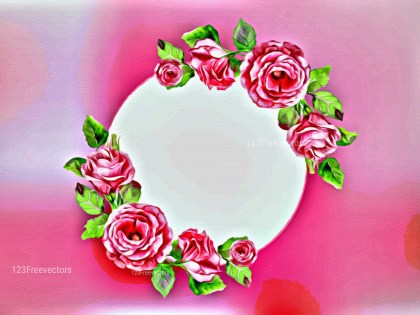 Pink Floral Greeting Card with Round Frame and Roses