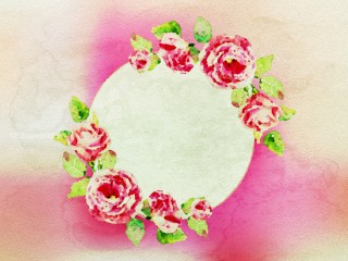 Greeting Card with Round Frame and Rose Flowers