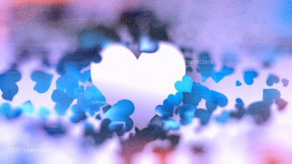Blurred Blue Purple and White Heart Background Image