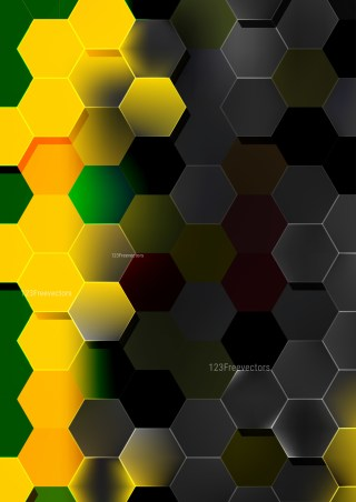 Black Green and Yellow Hexagon Background Vector Image