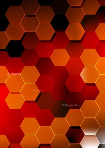 Black Red and Orange Hexagon Background