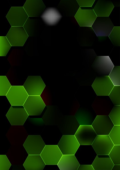 Green and Black Hexagon Background