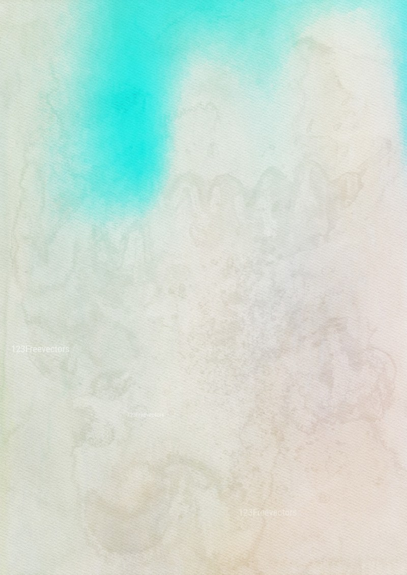 Beige and Turquoise Distressed Watercolour Background