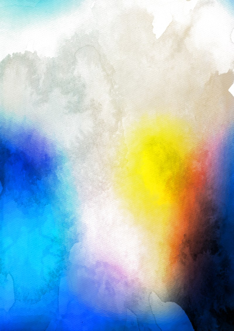 Blue Yellow and Orange Watercolour Background