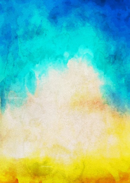 Blue Yellow and White Watercolor Background Texture Image