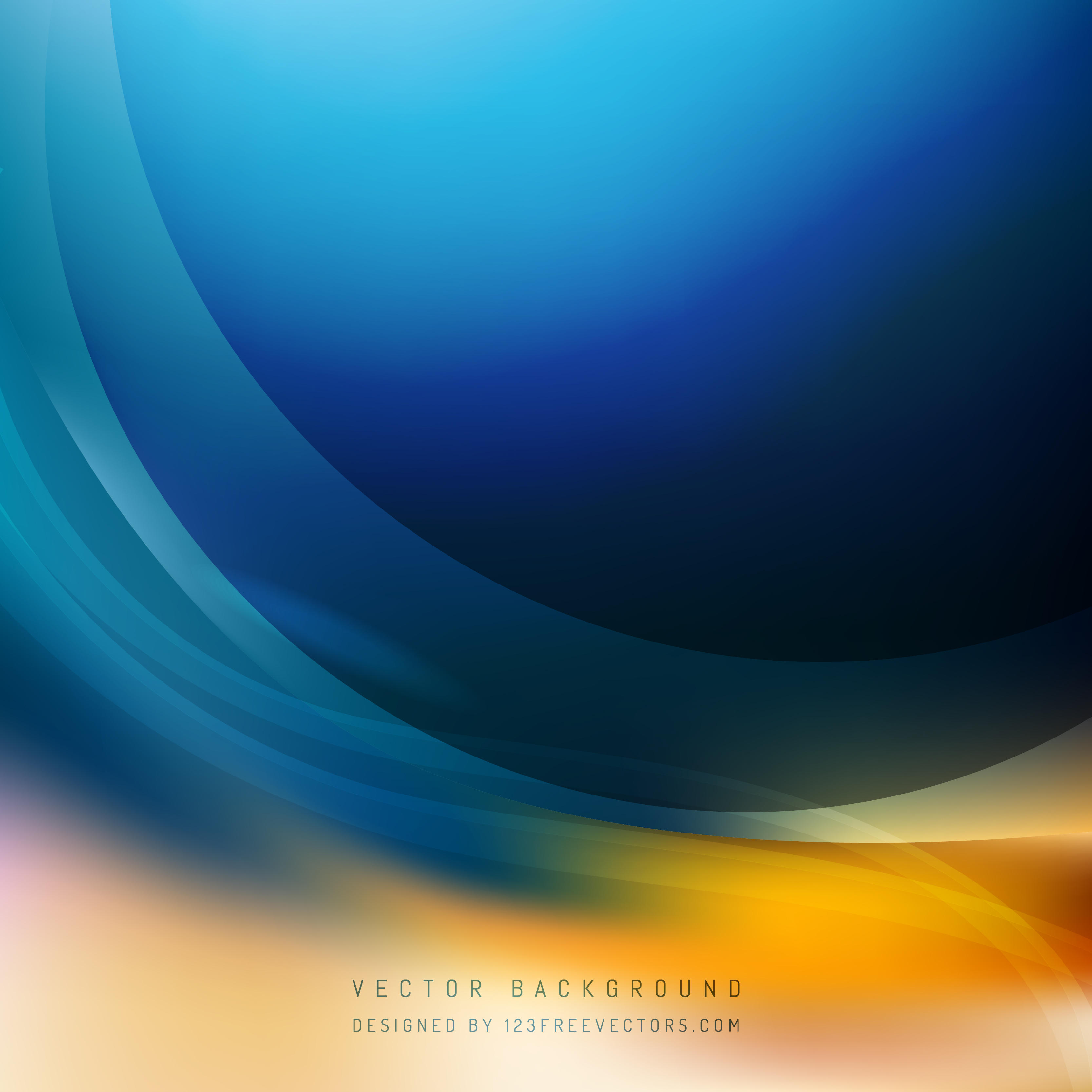 Abstract Blue Orange Wave Background Template