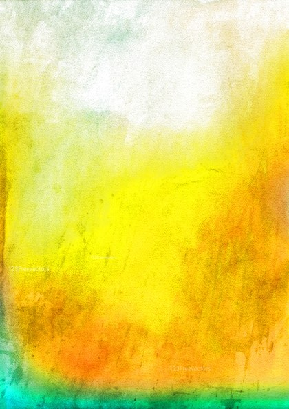 Orange Yellow and Green Distressed Watercolor Background Image