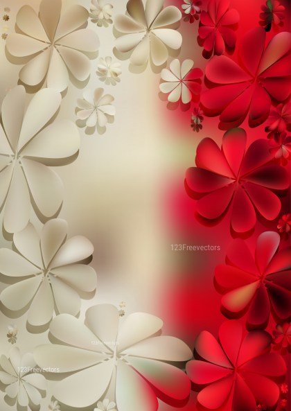 Beige and Red Flowers Background Vector Image