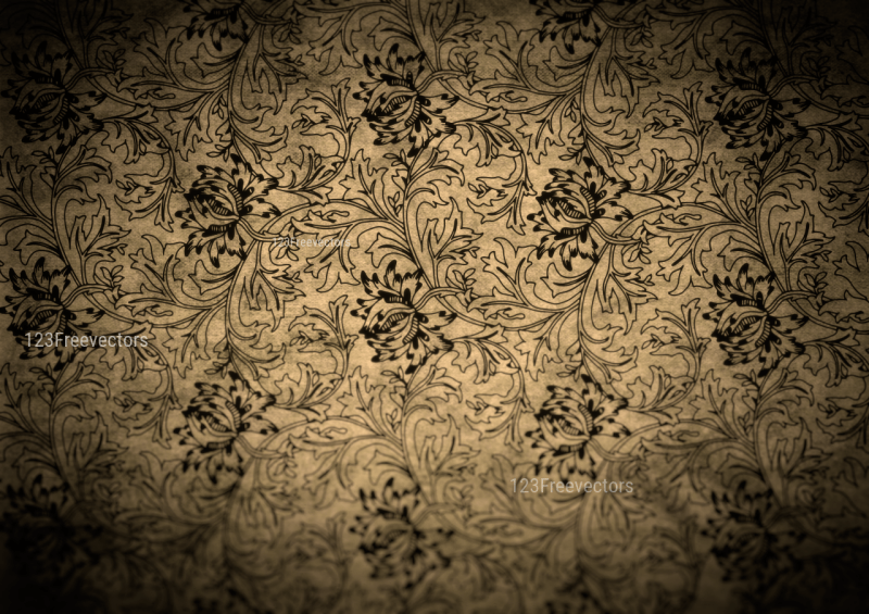 Black and Brown Grunge Floral Texture