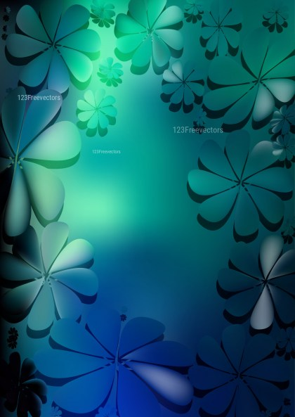 Black Blue and Green Flower Background