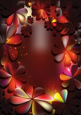 Black Red and Orange Floral Background Vector Image