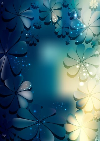 Blue and Beige Flower Background Vector Graphic