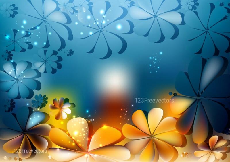 Blue and Orange Flowers Background