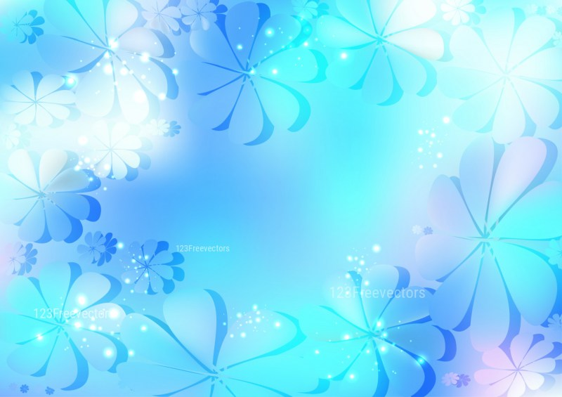 Blue and White Flower Background Vector