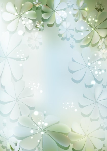 Blue Green and White Floral Background