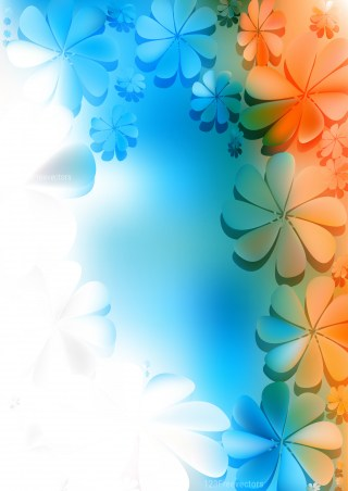Blue Orange and White Floral Background Image