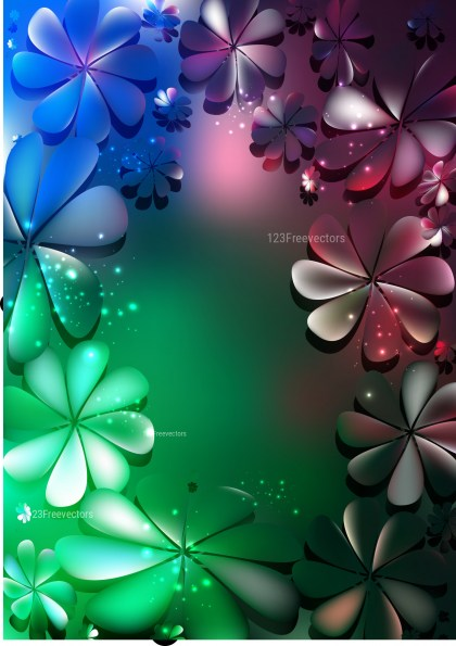 Blue Pink and Green Floral Background