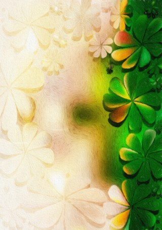 Green and Beige Watercolor Flower Texture Image