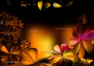 Orange and Black Flower Background Vector Graphic