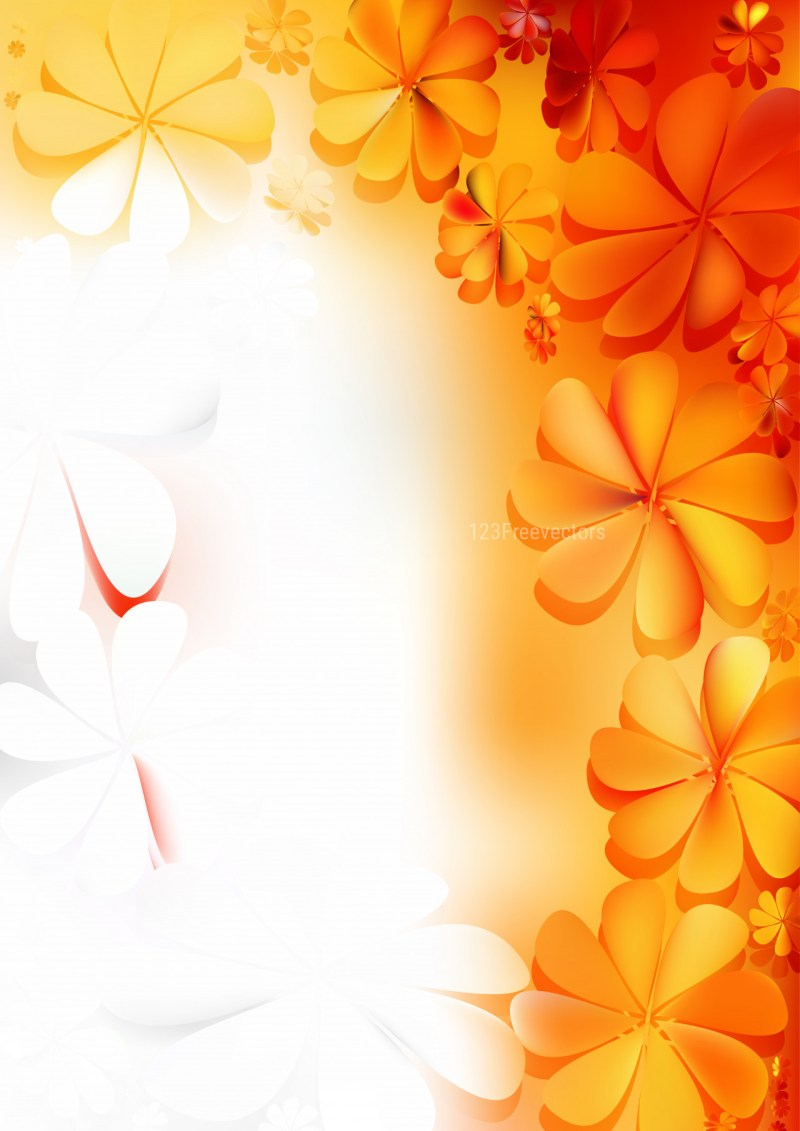 Orange and White Floral Background Vector Art