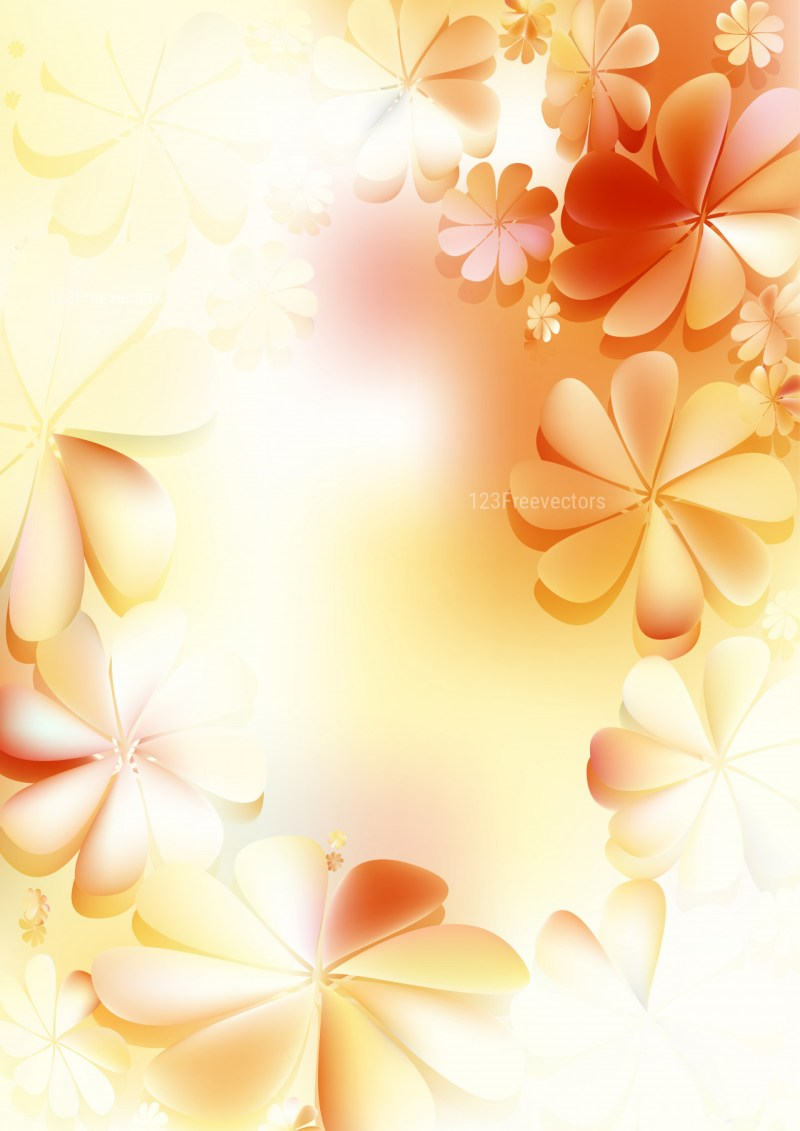 Orange and White Floral Background Graphic