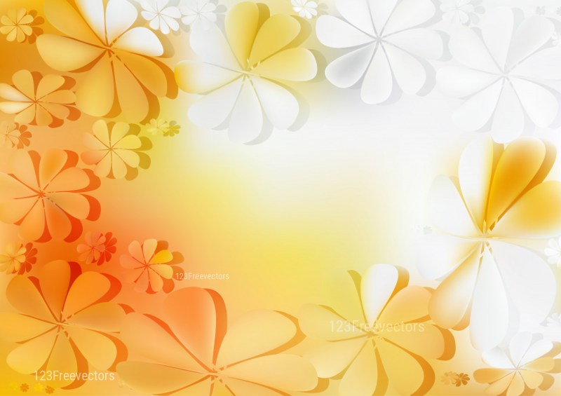 Orange and White Flower Background Vector