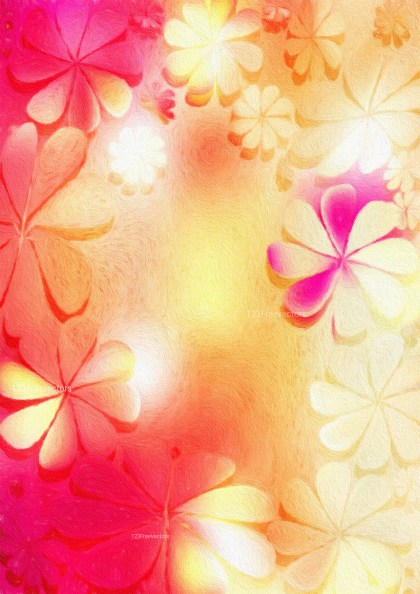 Pink and Orange Watercolor Flower Texture Background Image