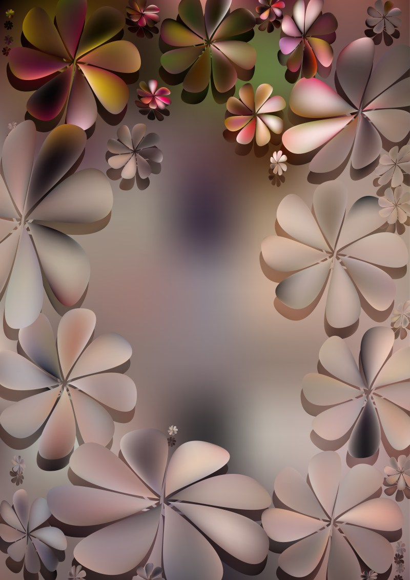 Pink Green and Brown Flower Background Illustration