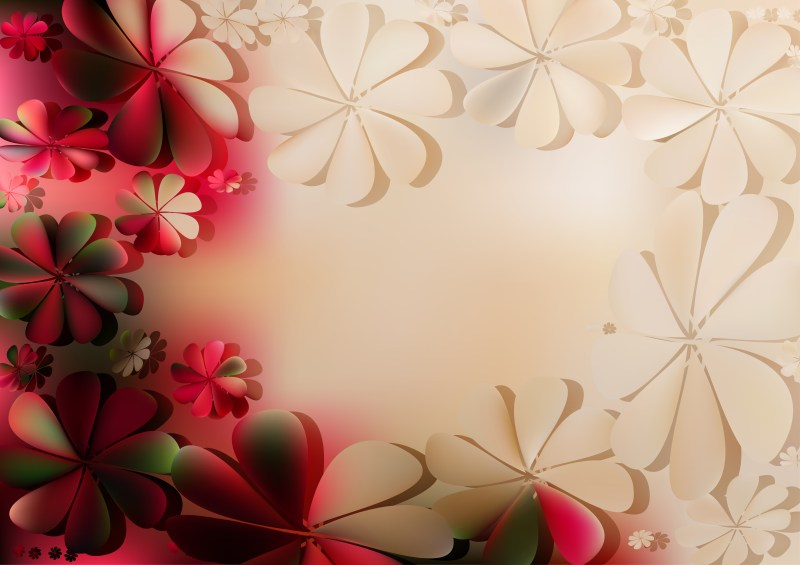 Red Brown and Green Floral Background
