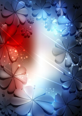 Red White and Blue Flower Background Illustration