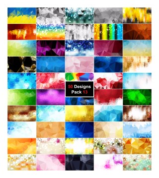 50 Multicolored Polygon Background Vector Pack 13