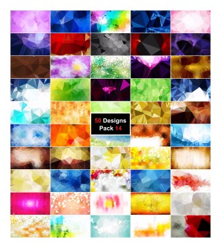 50 Multicolored Low Poly Background Vector Pack 14