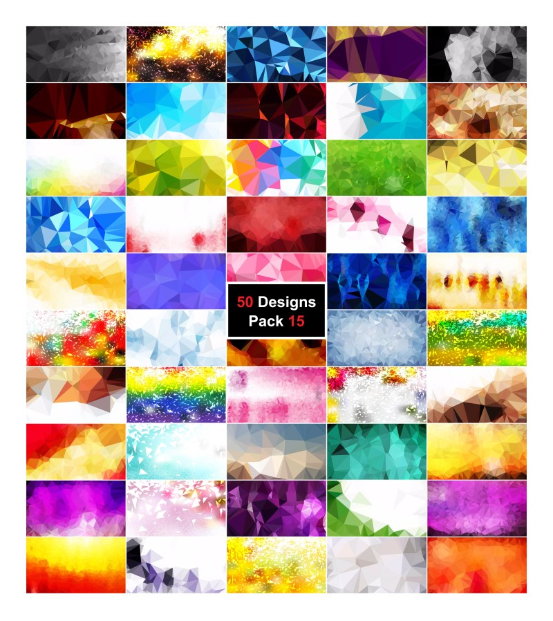 50 Multicolored Polygonal Background Vector Pack 15