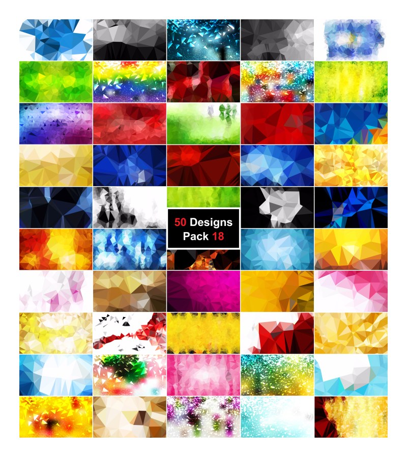 50 Abstract Multicolored Polygonal Background Vector Pack 18