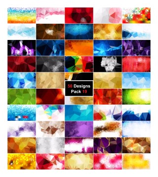 50 Abstract Vector Polygon Background Collection Pack 19