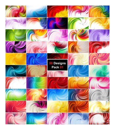 50 Abstract Swirl Background Vector Pack 01