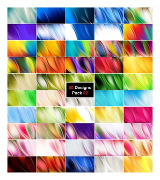 50 Abstract Curve Designs Background Vector Pack 02